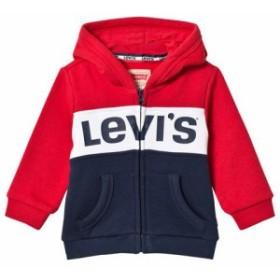 リーバイス パーカー トレーナー キッズ 男の子【Levis Red and Navy Logo Colour Block Hoodie】