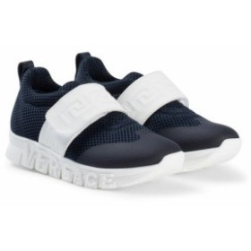 スニーカー シューズ 靴 キッズ 女の子【Young Versace Navy Branded Velcro Strap Trainers】