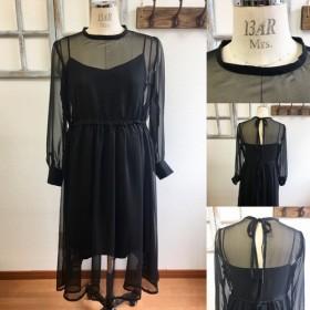 大人の透け感 ️シースルーシフォン素材長袖ワンピース 黒(サイズフリー L L L)※インナーなし