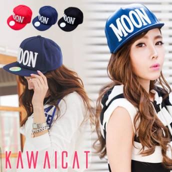 帽子全般 - KawaiCat 【ha8624】スタイリッシュに着用できるMOONロゴデザインのベースボールキャップ