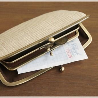 ■手紡ぎ、手織りシルク・リネンの親子がま口長財布 / d■