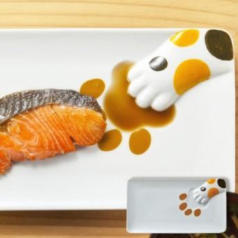 プレート どろぼう猫魚プレート 三毛猫 皿 仕切り皿 磁器 食器 ( 食洗機対応 醤油皿 電子レンジ対応 絵柄 仕切り お皿 )