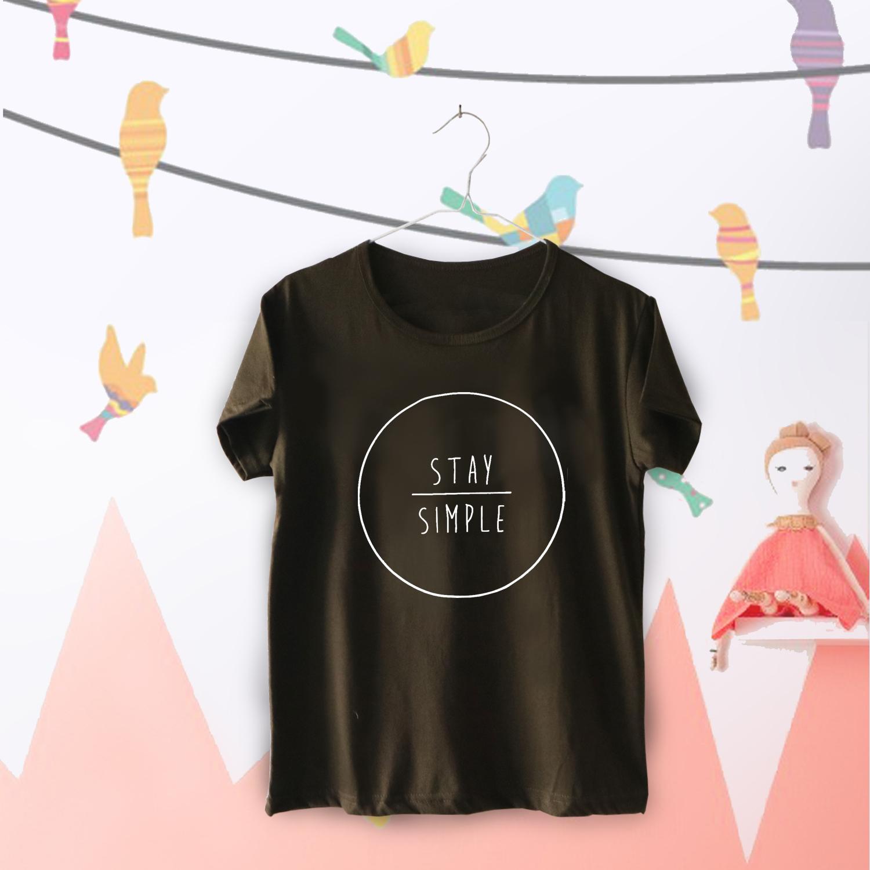 Tumblr Tee / T-Shirt / Kaos Wanita Lengan Pendek Stay Simple Warna Hijau Army