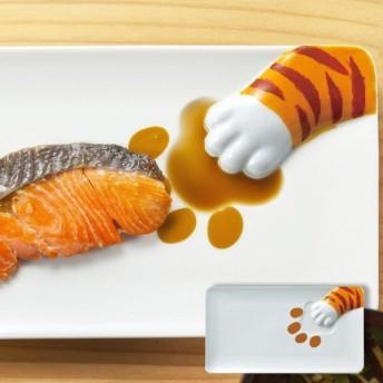 プレート どろぼう猫魚プレート とらねこ 皿 仕切り皿 磁器 食器 ( 食洗機対応 醤油皿 電子レンジ対応 絵柄 仕切り お皿 )