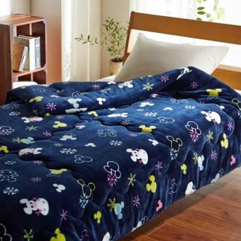 毛布 ディズニー マイクロファイバー側地のボリュームわた入り毛布 ミッキーモチーフ(雪だるま)