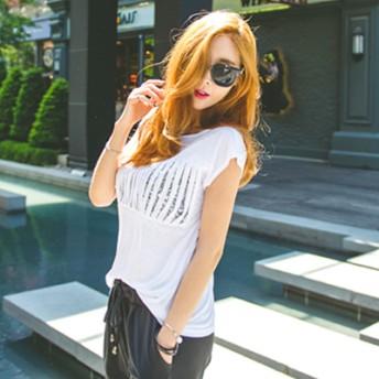 カットソー - KawaiCat 【ts14551】胸元スリットからのぞくきらきらスパンコールがgood!胸元スリットスパンコール半袖Tシャツ
