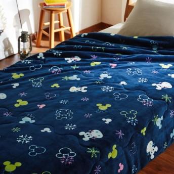 毛布 ディズニー マイクロファイバー側地のわた入り毛布 ミッキーモチーフ(雪だるま)