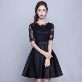 リボンウエスト ショート ショート丈 ブラックドレス 花柄刺繍 レース 綺麗 おしゃれ 可愛い 上品 清楚 デート 結婚式 二次会 お呼ばれ