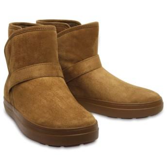 【クロックス公式】 ロッジポイント シンセティック スエード ブーティ ウィメン Women's LodgePoint Synth Suede Bootie ウィメンズ、レディース、女性用 ブラウン/茶 22cm,23cm,24cm,25cm,26cm boot ブーツ
