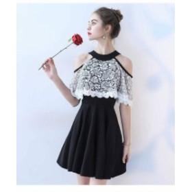 ブラック ラウンドネック イブニングドレス 個性的 花柄レース 綺麗 おしゃれ 可愛い 上品 清楚 デート 結婚式 二次会 お呼ばれ 女子会
