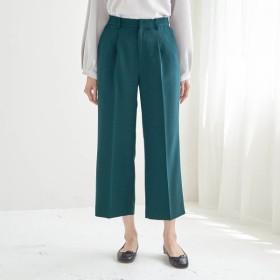 パンツ レディース クロップドパンツ ぺたんこ靴でもすっきりはけるバランスアップアンクルワイドパンツ ピーコックグリーン