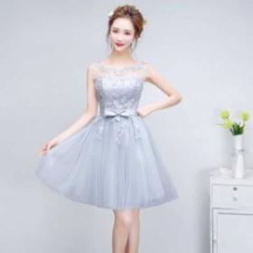 グレー ノースリーブ レース ミニワンピース ドレス 花柄刺繍 リボン シースルー   綺麗 おしゃれ 可愛い 上品 清楚 デート 結婚式