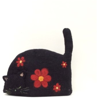 猫のティーコージー 赤色花