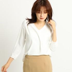インディヴィ INDIVI [S]ミルキーサテンシャツ (ホワイト)