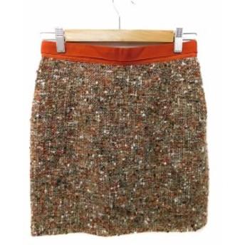 【中古】アプワイザーリッシェ Apuweiser-riche スカート 台形 ミニ ツイード 2 茶 オレンジ ベージュ レディース