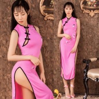 即納 チャイナドレス ロング丈 セクシー レディース ワンピース ドレス コスプレ コスチューム ファッション 衣装 仮装 ピンク