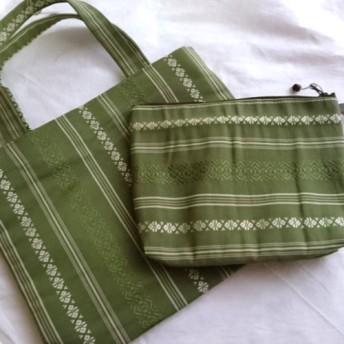 【初秋の袋】 帯リメイク ハンドバッグとポーチ シルク 博多帯 800円オフ