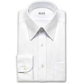 ワイシャツ - ワイシャツの山喜 ELLE HOMME 長袖 ワイシャツ メンズ 春夏秋冬 形態安定 白ドビーストライプ レギュラーカラーシャツ 綿ポリエステルホワイト(zed860-200)