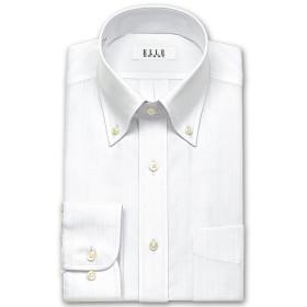 ワイシャツ - ワイシャツの山喜 ELLE HOMME 長袖 ワイシャツ メンズ 春夏秋冬 形態安定 白ドビーストライプ ボタンダウンシャツ 綿ポリエステルホワイト(zed861-200)