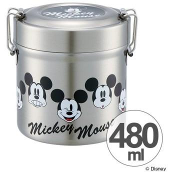 保温弁当箱 真空ステンレスランチボックス 480ml ミッキー Mickey faces ステンレス製 ( 保温 保冷 お弁当箱 ランチボックス )