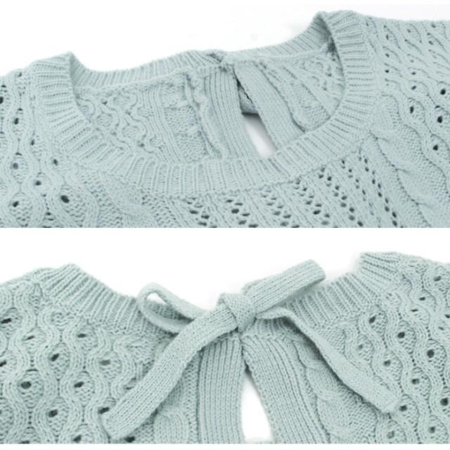 ニット・セーター - pierrot 透かし編みと細めのリボンが大人っぽいバックリボンニット☆ 後リボン ニット ケーブル ピエロ pierrot 春 春服