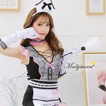 Malymoon レース メイド ウェイトレス コスチューム ハロウィン 衣装 メイド