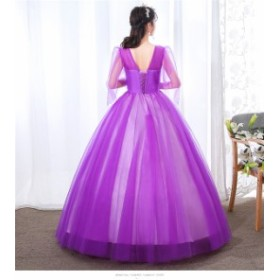 2色 パーティードレス ウェディングドレス 演奏会用ドレス ロングドレス プリンセスライン  二次会・花嫁衣裳にも♪