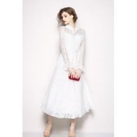 人気 白レース ワンピース 結婚式 パーティードレス 袖あり 大きいサイズ ロング 20代 30代 40代 二次会 親族 演奏会 フォーマル キャバ