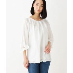 シューラルー裾刺繍シャツレディースホワイト(001)03(L)【SHOO・LA・RUE】