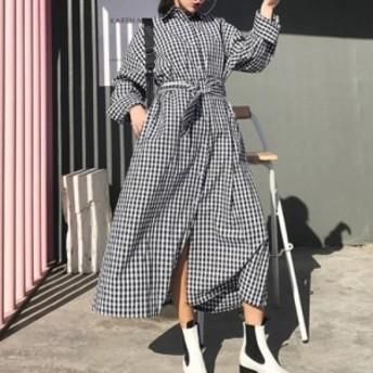人気&売れ筋 ベルト付き ギンガムチェック シャツ 長袖 カジュアル ロング丈 羽織り YF0262