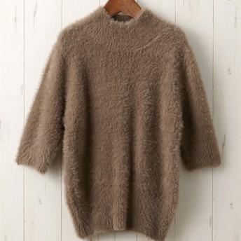 シャギーハイネック半袖セーター (ニット・セーター)