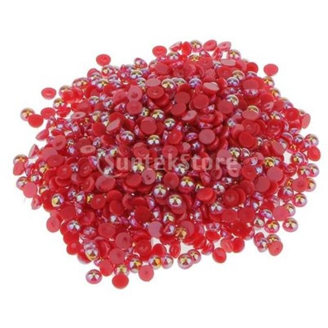 全32種類 8色+4サイズ アクリル真珠 楕円形 フラットバック 装飾 約1000個入り - 5ミリメートル, 赤