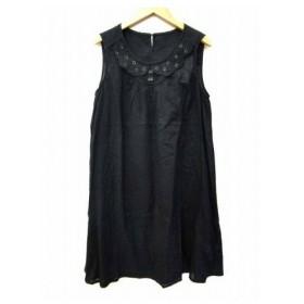 未使用品 フランシュリッペ franche lippee black ワンピース 刺繍 薄手 ノースリーブ 無地 M 黒 ブラック インド製 B92245 レディース