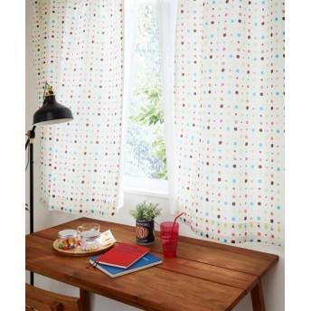 【送料無料!】サラッとした質感の水玉柄カーテン ドレープカーテン(遮光あり・なし)