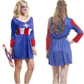 ハロウィン コスプレ 衣装 キャプテンアメリカ レディース 盾付き ヒーロー ショート丈