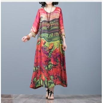 ワンピース 赤 イエロー ロング丈 五分袖 Aライン 着痩せ 花柄 おでかけ 20代 30代 40代 秋冬