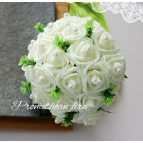 綺麗ブーケ ウェディングブーケ 手作り造花ブーケ ドレスブーケ ラウンドブーケ 花束 ウェディング用  ブライダル 安い SPH-08