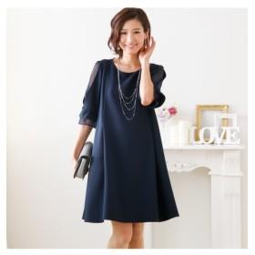 袖シフォン使い 授乳口付き 7分袖 ワンピースドレス