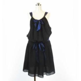 【中古】MARC by MARC JACOBS ワンピース ドレス シルク100% ギャザー 肩紐リボン ブラック 4