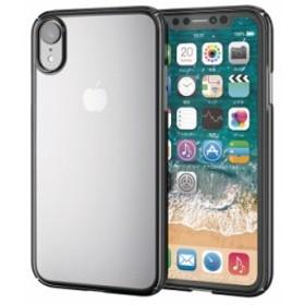 iPhoneXR ハードケース サイドメッキ キラキラ スリム 光沢 カメラレンズ保護 高級感 シンプル おしゃれ ブラック PM-A18CPVKMBK