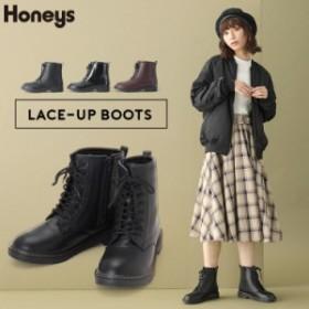 ブーツ ショートブーツ レディース 編み上げ 秋 冬 Honeys ハニーズ レースアップブーツ SALE セール 通常2980円