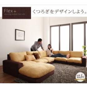 カバーリングモジュールローソファ【Flex+】フレックスプラス【単品】2P 肘なし ベージュ×ブラウン
