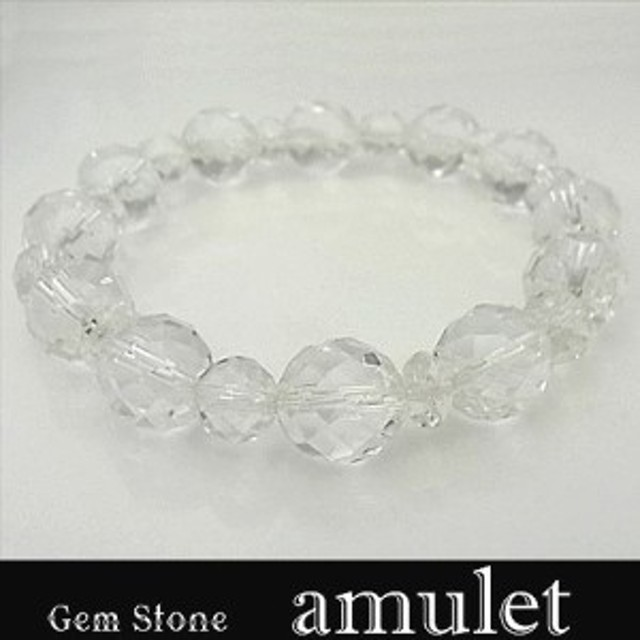 パワーストーン 天然石 ブレスレット 数珠 念珠 厄除け お守り ミラーカット水晶 ボタンカット水晶