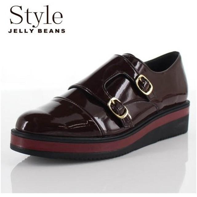 STYLE JELLY BEANS ジェリービーンズ 靴 903 シューズ モンクストラップ ダブルモンク 厚底 エナメル ワイン レッド レディース セール