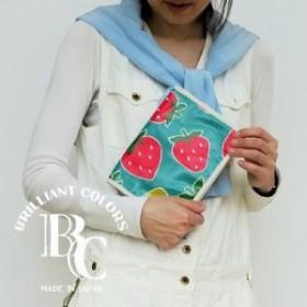 マルチケースL ビッグいちご柄 グリーン 北欧 ストロベリー ギフト 母子手帳 カバー ケース