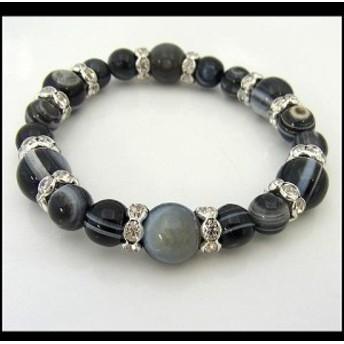 パワーストーン 天然石 ブレスレット 数珠 念珠 しまメノウコンビブレス