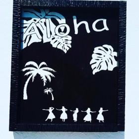 ハワイ・フラダンサー・フラダンス・木製パネル・壁掛け