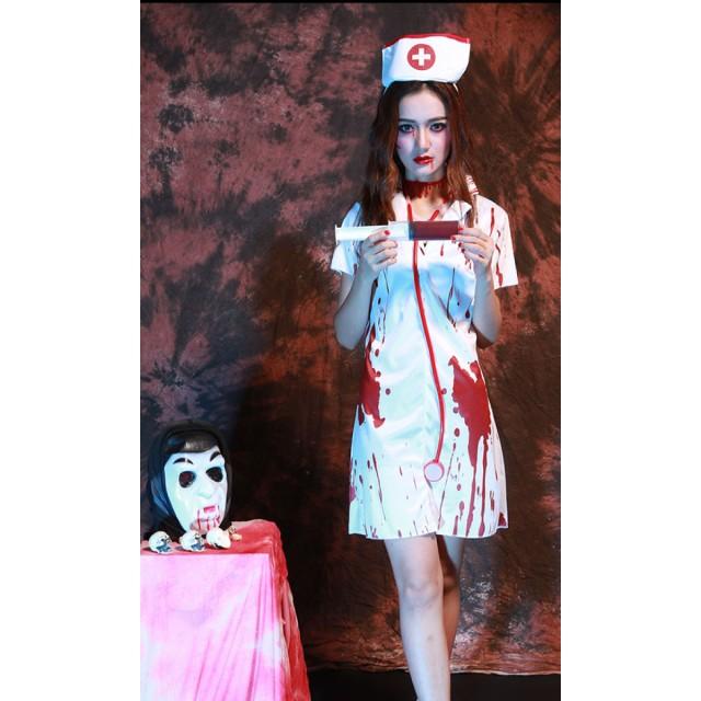 24dca00094abe ハロウィン用コスチューム - HANAHANA ハロウィン コスプレ ゾンビ 血のり ナース スプラッター コスチューム 仮装 衣装 ホラー