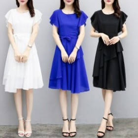 ドレス ひざ丈 フレア フリル リボン 半袖 結婚式 二次会 春 夏 黒 白 ブルー レディース 大きいサイズ #2270