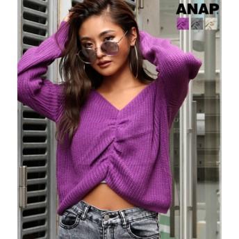 【セール開催中】ANAP(アナップ)センターギャザークロップドニットトップス